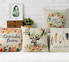 Cotton/Linen Cushion Cover Shell Throw Pillow Case watercolor deer floral 1 pc