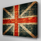 AB483 Brick Wall Union Jack Abstract Canvas Wall Art Ready to Hang Picture Print