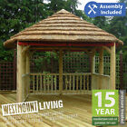 NEW 10x9FT WOODEN SQUARE THATCHED ROOF HOT TUB AFRICAN GAZEBO JACUZZI SHELTER