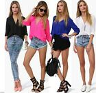 New Girl Slim Fashion Loose Chiffon V-Neck Tops Long Sleeve Shirt Casual Blouse