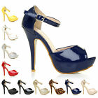 WOMENS PEEP TOE STRAP PLATFORM STILETTO LADIES HIGH HEEL SANDAL SHOES SIZE 3-8
