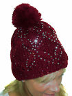 ICE (6427-5) Cable Knit Winter Bobble Hat Silver Studded & Sequins Wine