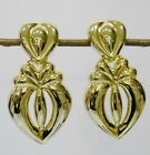 Clip on Earrings Double Heart Gold Silver Tone and Double Oval Link Necklace 80s