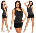 Womens Cowl Neck Embellished Party Bodycon Mini Dress size 8-14