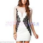Sexy Lady Women's Elegant Tunic Lace Slim Bodycon Colorblock Pencil Mini Dress