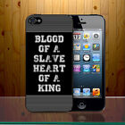 Blood of A Slave Heart Of A King Quote Lyric Patriotism Phone Case Cover Z645