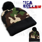 Beanie Hat Pom Pom Cap Knit Winter Camouflage Military Tactical Warm Stretch Men