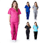 Внешний вид - Women's Contrast Scallop Medical Hospital Nursing Uniform Scrubs Set Top & Pants