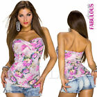 New Sexy Womens Floral Print Tube Top Shirt Blouse Casual Party Size 8 10 S M