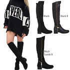 LADIES WOMENS KNEE THIGH HIGH OVER THE KNEE LOW PLATFORM HEEL STRETCH BOOTS SIZE