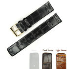 Genuine Leather Watch Band Strap 18mm 20mm Black Brown Gold Bukcle Thin Soft New