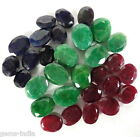 228 Ct+ 30 Pcs Natural Red Ruby Green Emerald Blue Sapphire All Oval Loose Gems