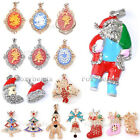 Christmas Xmas Tree Santa Claus Crutch Crystal Pendant Fit Necklace Womens Gift