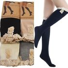 Womens Girls Solid Crochet Lace Button Trim Knit Boot Socks