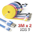 2x 3M 8Pin Noodle USB Data Charger Cable For iPhone 6S Plus 5S 5C iPod iPad Mini