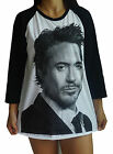 Unisex Robert Downey Jr Raglan 3/4 Length Sleeve Baseball T-Shirts (Vest Tank)