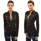 PattyBoutik Zip Front Long Sleeve Stand Collar Military Light Jacket
