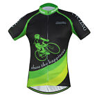 Night Rider Men's Short Sleeve Cycling Jerseys Sportwear Bicycle Jacket Green