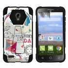 Case For For Alcatel Pop Icon 2 Y Stand Shell Black Cover Hybrid Camo Print Dual