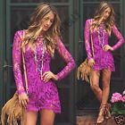 Womens Crochet Lace Beach Holiday Summer Casual Day Cover Up Tunic Bodycon Dress