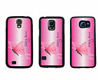 PERSONALIZED RUBBER CASE FOR SAMSUNG S4 S5 S6 PINK BUTTERFLY