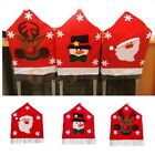 Red Hat Chair Back Cover Santa Claus Snowman Elk Dinner Party Christmas Decor