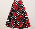rockabilly 50s clothing women dance skirts high waist circle polka dot red roses