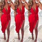 Womens Bodycon Thigh Split Drape Cocktail Party Evening Formal Ladies Midi Dress