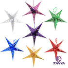 Colorful Folding Star Christmas Decorations Laser Duplex Pentagram Hanging Lobby