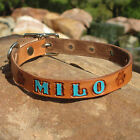 "BROWN 5/8"" Painted Personalized Pet Name, Paw Prints, Small Leather Dog Collar"
