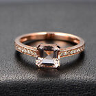 1.35ct Asscher Cut VVS Morganite Pave SI Diamonds Engagement Ring Solid 14K Gold