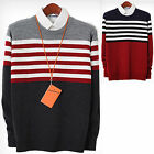 Mens Premium Bridge Striped Round Neck Crewneck Knit Sweater Jumper Top E026 S/M