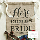 "Burlap Here Comes The Bride Sign 15""x20"" Rustic Wedding Sign Wedding Banner"