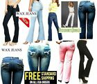 NEW Junior WOMEN'S BLUE Black Denim Stretch Bootcut Straight