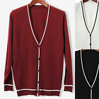 Mens Slim Fit Line Point V-neck Cardigan Sweater Jacket Jumper Knit Top E005 M/L