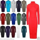 New Women's Ladies Polo Neck Stretch Long Sleeve Bodycon Midi Dress