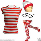 KIDS RED WHITE T-SHIRT HAT GLASSES SOCKS GEEK COSTUME FANCY DRES