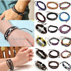 Handmade Mens Womens Genuine Leather Multilayer Waxed Cord Braided Bracelet Gift