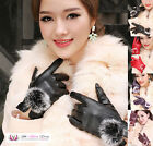 Classy Womens Sexy Rabbit Fur Ball Faux Leather Winter Mitten Gloves