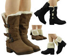 SALE  MID CALF FUR LINING LADIES WINTER LOW CHUNKY HEEL BIKER ANKLE BOOTS SIZE
