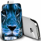 pu leather pull tab pouch case for various Mobiles - blue lion pouch