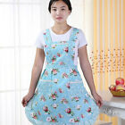 Women's Restaurant Home Kitchen Cooking Pocket Lace Cotton Apron Dress New