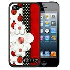 PERSONALIZED RUBBER CASE FOR iPHONE 5 5S 5C SE 6 6S 7 PLUS LADY BUG FLOWERS