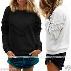 Womens Casual Gray Black Tassels V Shape Long Sleeve T-Shirt Tops Blouse CHIC