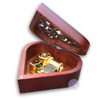 Wooden Heart Shape Sankyo Wind up Music Box With More Than 30 Melodies Choice