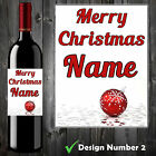 PERSONALISED WINE BOTTLE LABEL STICKER MERRY CHRISTMAS VINTAGE CHABBY CHIC- B30