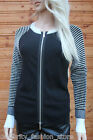 Karen Millen Black Graphic Texture Zipper Chunky Cardigan Knit Jacket 12 40 New