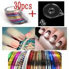 Hot 30Pcs Mixed Colors Rolls Striping Tape Line DIY Nail Art Sticker Tool Case