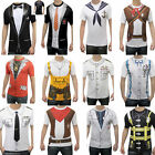 Adult Mens Printed T Shirts Doctor Cowboy Geek Stag Do Fancy Dress Nerd Costume