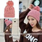 Rare Womens Winter Thick Braided Crochet Wool Knit Beanie Ball Baggy Hat